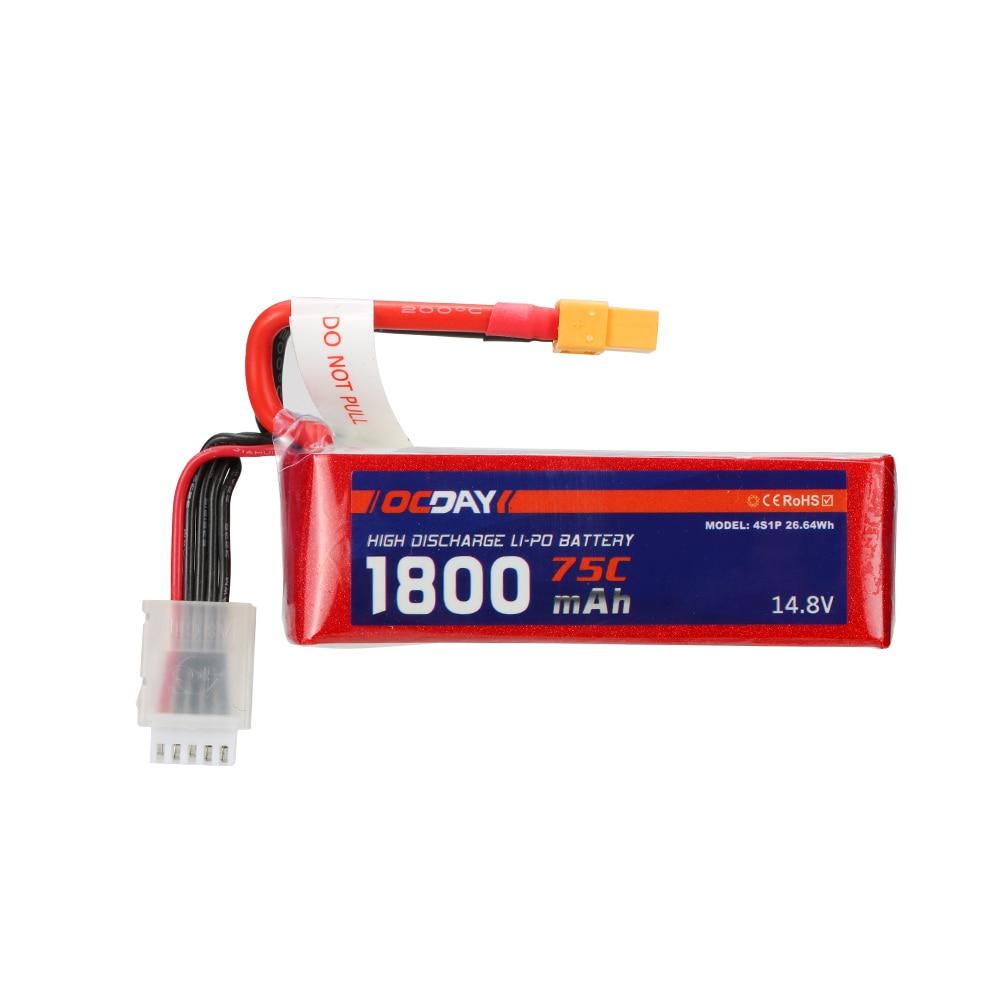 Wholesale 1pcs OCDAY Lipo Battery 14.8V 1800mAh 75C 4S XT60 Plug For RC Quadcopter Truck Buggy Bateria Lipo High Quality 1s 2s 3s 4s 5s 6s 7s 8s lipo battery balance connector for rc model battery esc