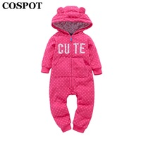 COSPOT Newborn Winter Christmas Romper Baby Boys Girls Red Plaid Jumpsuit Infant Christmas Reindeer Hooded Rompers