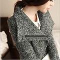 Outono e inverno casaco de mulheres 2015 novo parágrafo longo fino lapela grosso pequeno vento perfumado de lã casaco feminino LI461