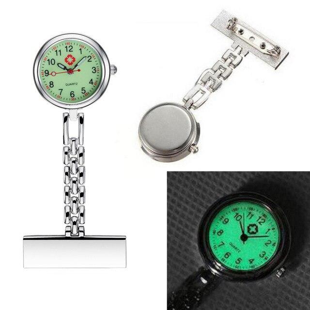 392c4373329 Enfermeira Luminosa Mostrador do Relógio Nova Moda Profissional Sênior  Médica Broche Clipe de Bolso de Quartzo