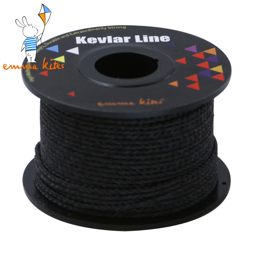 100ft 30m 500lb black kevlar kite line string for stunt for 30 lb braided fishing line