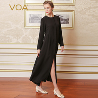 VOA 2017 Fall Fashion Gothic Cool Solid Black Silk Trench Coat Autumn Middle Aged Women Plus Size Brief Maxi Long Coat F6082