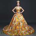 Sexy Celebrity Dresses Real Luxurious High-end Customized Royal brocade silk Chinese-style evening dress robe de soiree kaftan