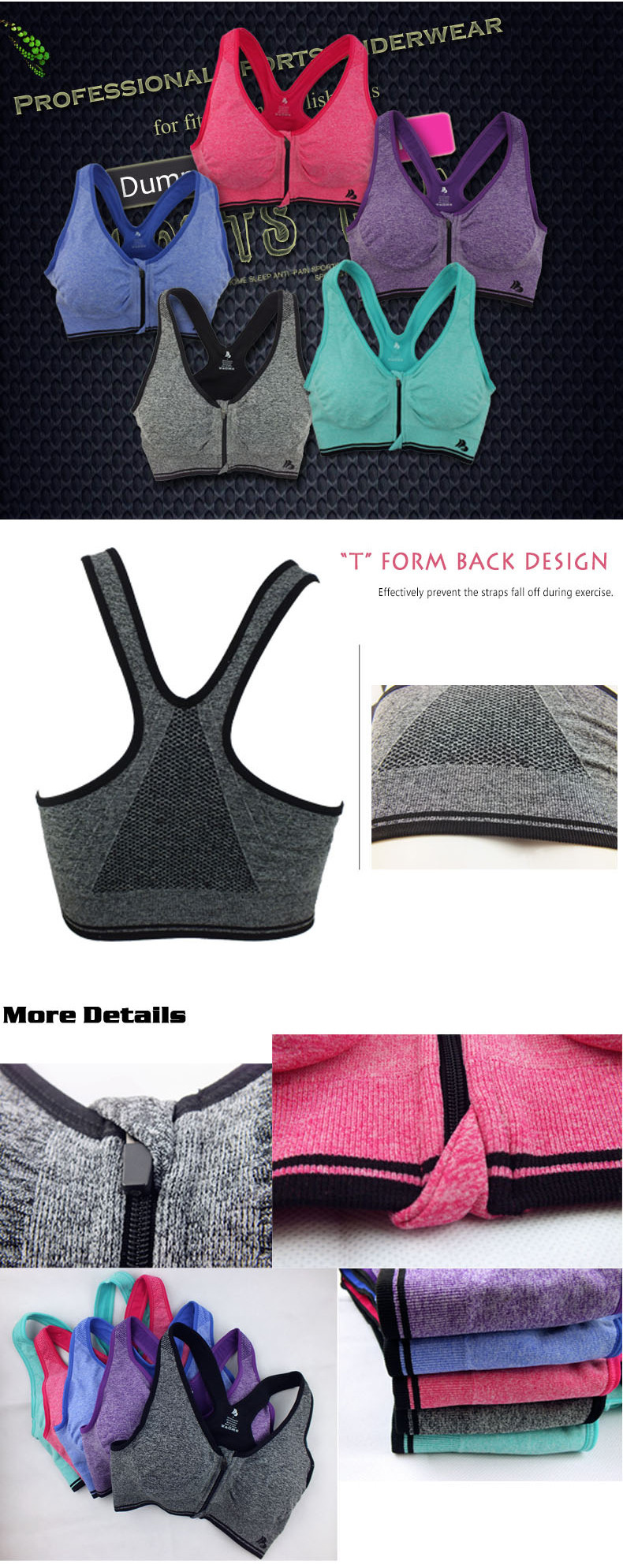 B.BANG Women's Bras Zipper Front Push Up Bra Shakeproof Intimate Crop Top Seamless Underwear Free Shipping 23