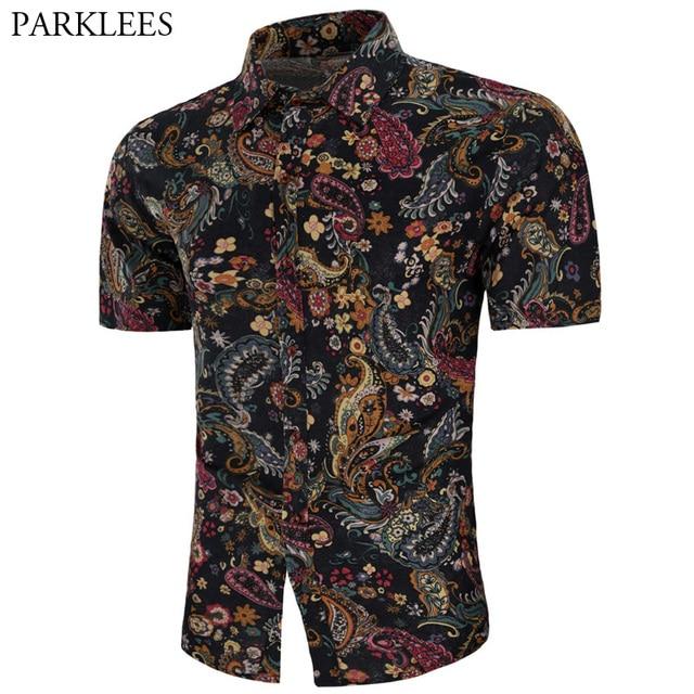 3f23944a Vintage Paisley Print Shirt Men 2018 Fashion Brand Slim Fit Short Sleeve  Hawaiian Shirt Mens Casual Dress Shirts Camisa Hombre