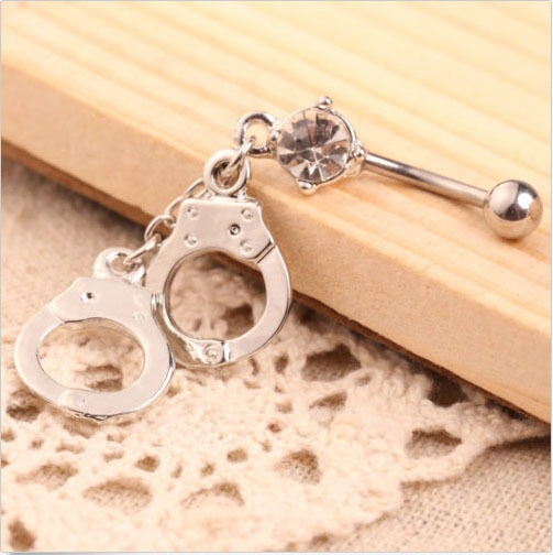 Steel Handcuffs Belly Button Ring