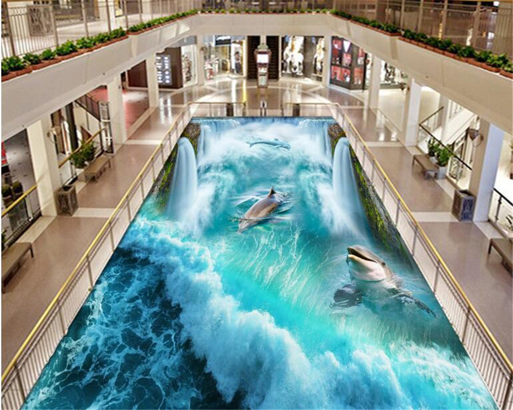 beibehang papel de parede waterproofCustom Large Dolphin Waterfall Floor Background pvc self adhesive wallpaper 3d wallpaper custom floor wallpapers 3d stereoscopic dolphin sea turtle bathroom floor pvc self adhesive mural wallpaper papel de parede 3d