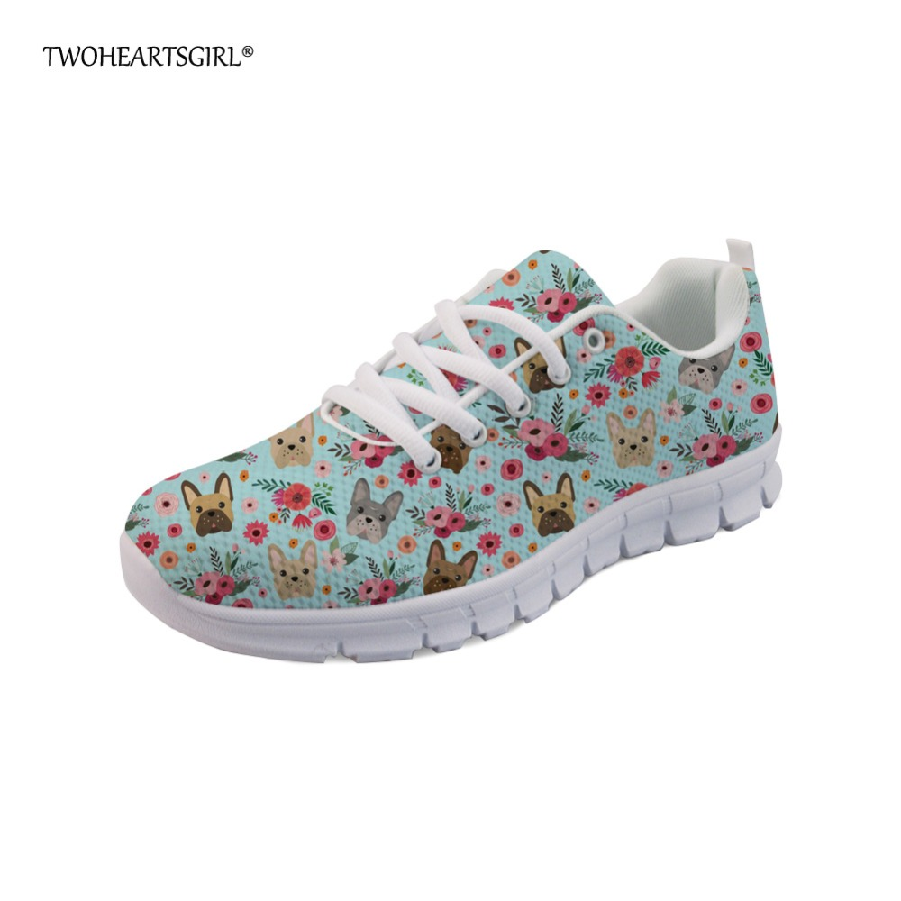 Twoheartsgirl Designer Women's Flats French Bulldog Print Flower Sneakers Women Casual Mesh Lace Up Ladies Flat Shoes 35-45 instantarts novelty cocker spaniel flower print women flat mesh shoes breathable summer casual sneakers woman laces up flats