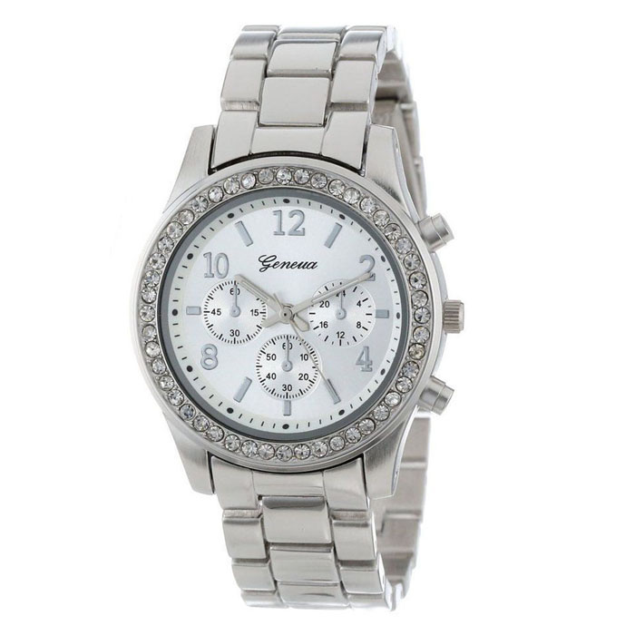 Fashion women's watches ladies wrist watches Faux Chronograph Quartz Plated Classic Round Ladies Women Crystals Watch(China)