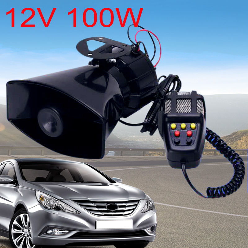 New 100W 7 Sound Car Electronic Warning Siren Motorcycle Alarm Firemen Ambulance Loudspeaker With MIC