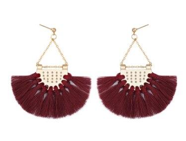 Этнический стиль Модные веерообразные серьги с кисточками в богемном стиле серьги ювелирные изделия - Цвет: Dark Red