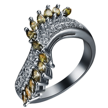 Black Gold Color Finger Rings Special Silver Yellow Gold-Color Green White Zircon Party Gift For Women Jewelry