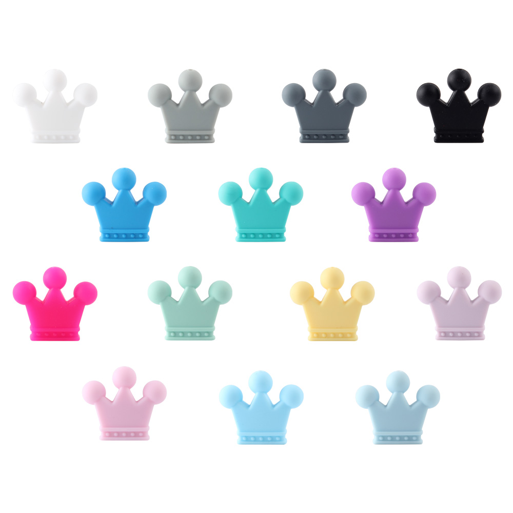 10PCS Crown Silicone BeadsTeething Necklace Nursing Toy Accessories Newborn Teething Silicone Teethers