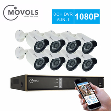 MOVOLS CCTV 1080P 8pcs Camera Video Surveillance 8CH 2000TVL Outdoor Security Camera system 8CH 1080N DVR Kit movols 5mp video surveillance kit h 264 8ch dvr 4pcs cctv camera security system ir surveillance outdoor waterproof camera kit