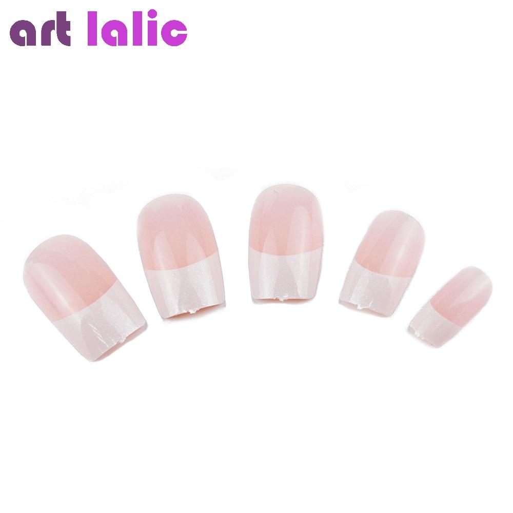 Artlalic 24pcs/set French Acrylic Nails False Full Cover for Nail ...