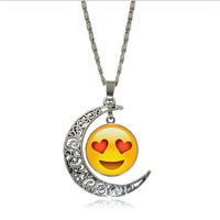 Different style Emoji face Smile Emoticon moon Cabochon Glass chain pendant necklace