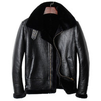 Male Autumn Genuine B3 Bomber Pilot Shearling Coat Plus Size 4XL Russian Winter Thick Short Aviator Leather Jacket