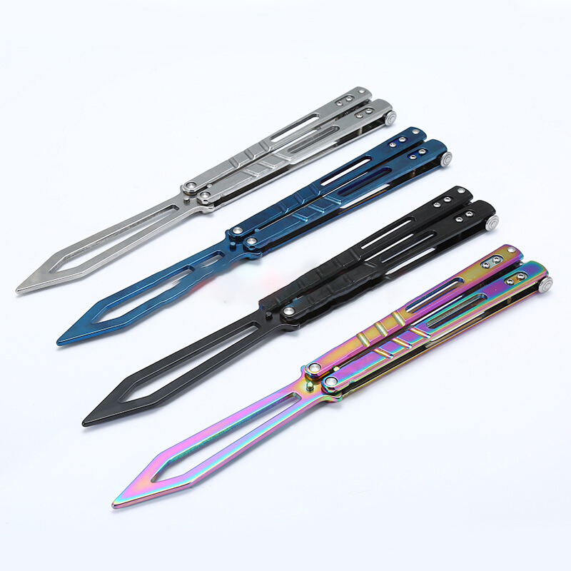 Colorful Titanium Training Folding Knife Non Sharp Butterfly in Knife  Tactical Trainer Toy Karambit Balisong Knife Practice Tool