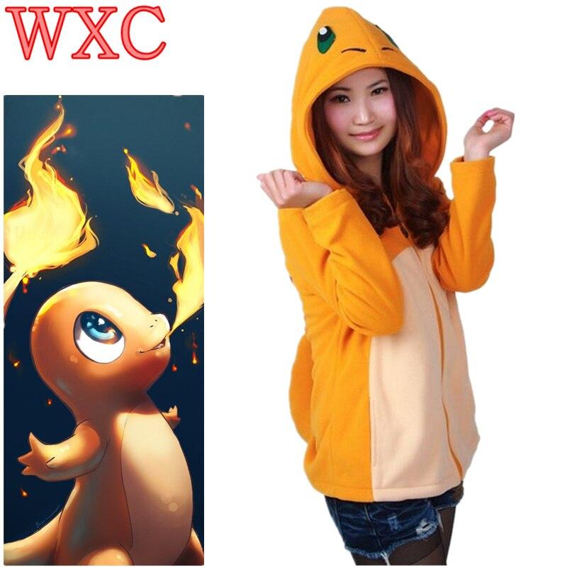 Charmander Hoodie With Tail Women Jacket Fleece Umbreon Charmander Cosplay Costumes Anime Coat Warm Sweatshirts WXC