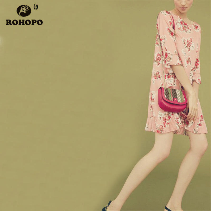ROHOPO Butterfly Half Sleeve Ruffles Hem Women Pink Floral Chic Dress #CW8956