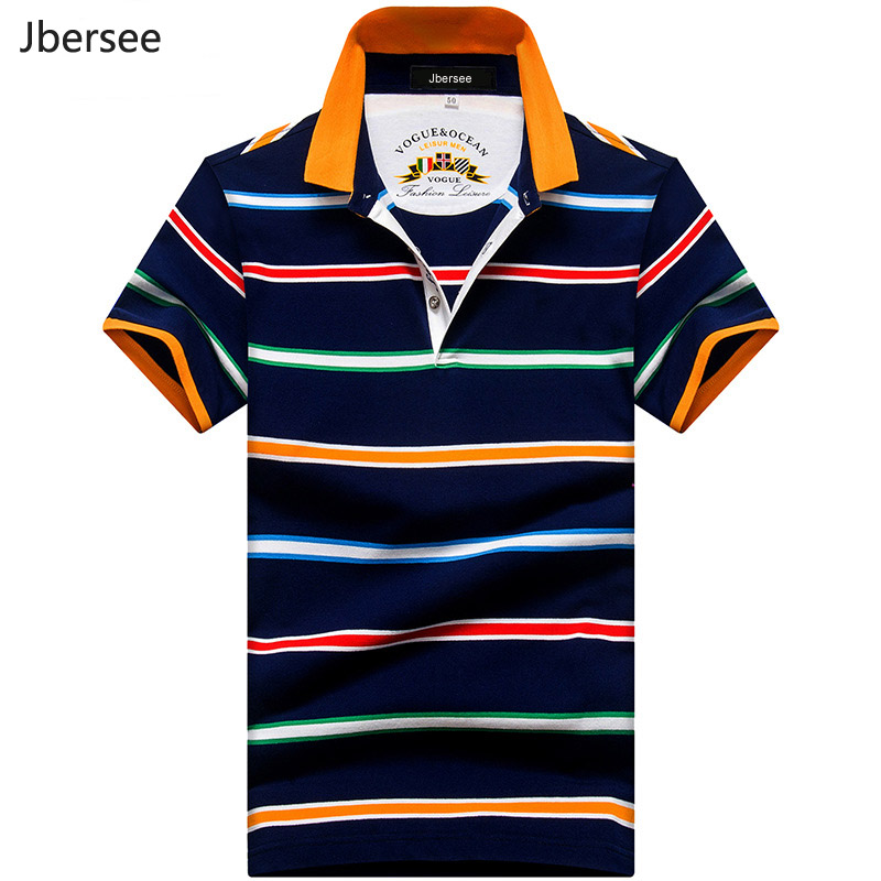Jbersee Men Clothes Fashion Brand Striped   Polo   Shirt Men Short Sleeve Cotton Shirts Men Casual Summer Top Shirt   Polo   Homme