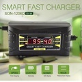SON Genuine Full Automatic Smart 12V 6A Lead Acid/GEL Battery Charger with LCD Display US/EU Plug