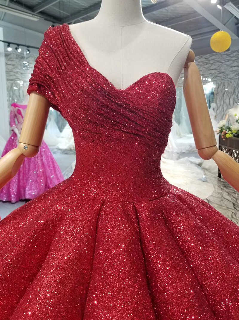 ea77c9718acf8 LSS074 ankle-length wedding party dresses sexy one-shoulder princess girl  ball gown red evening prom dresses 2019 abendkleider