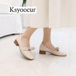 Ksyoocur marca otoño zapatos de mujer zapatos de cuero de la PU elegante tacón bajo Slip On Calzado Mujer punta redonda tacón grueso J011