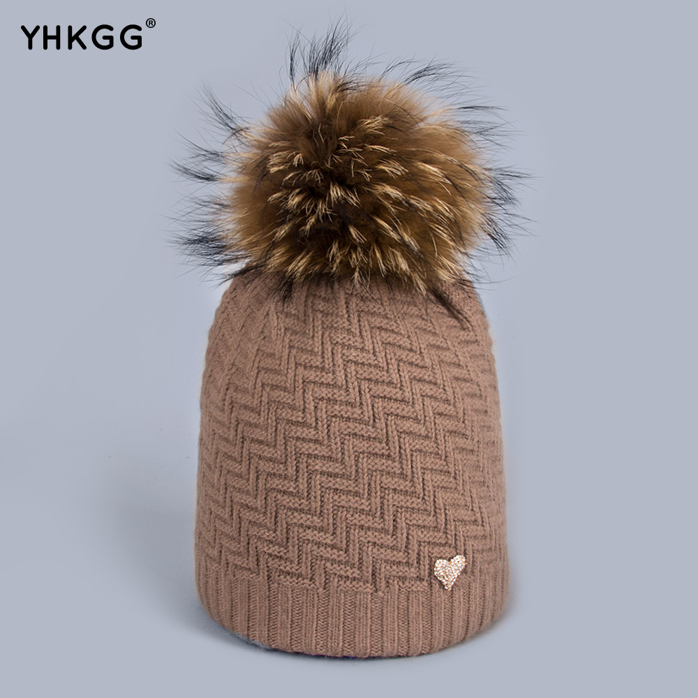 YHKGG Geometric Skullies Beanies Mink and Fox Fur Winter Hats Women's Wear Hats Wool Knitted Hat Girl Thick Cap Female H004 skullies