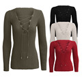 New Autumn Winter Sweater Deep V-bandage Long Sleeve V-neck Sexy Sweater Black White Army Green Red Pullover Crochet Sweater T73