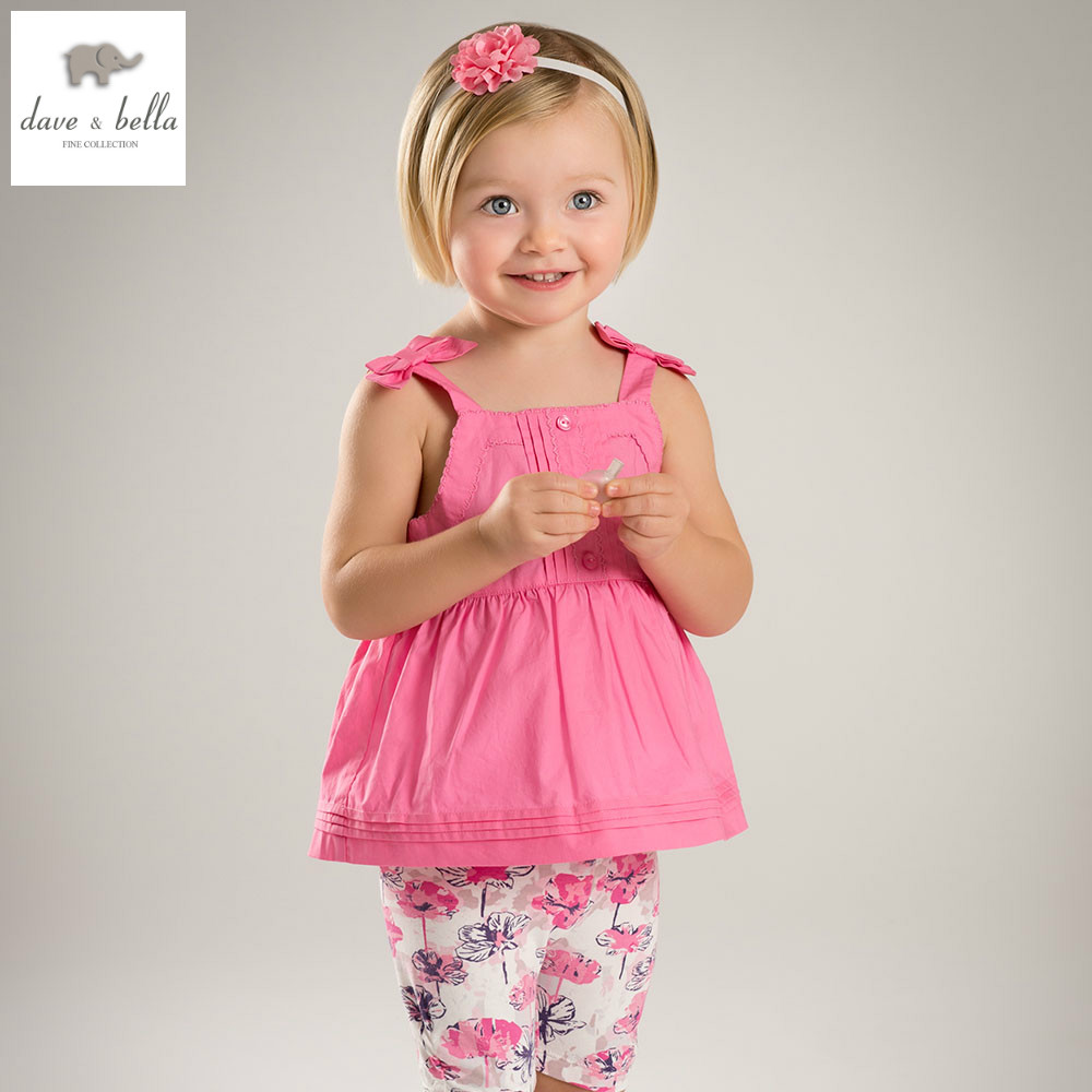 DB5061 dave bella summer baby girls solid top floral shorts clothing sets kids cute sets toddle cloth kids lively sets db4065 dave bella autumn baby girls cute lolita clothing set kids sets