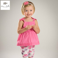 DB5061 Dave Bella Summer Baby Girls Solid Top Floral Shorts Clothing Sets Kids Cute Sets Toddle