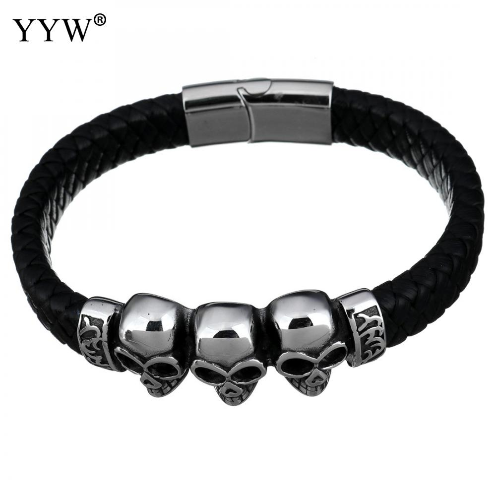 Skull Black Braided Rope Leather Bracelets Punk Rock Style Men Bracelet Stainless Steel Male Jewelry Approx 9 Inch Strand
