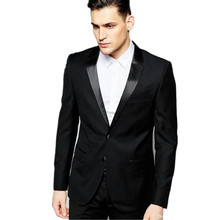 High Quality Two Button Black Groom Tuxedos Groomsmen Mens Wedding Suits Formal Dress (Jacket+Pants)
