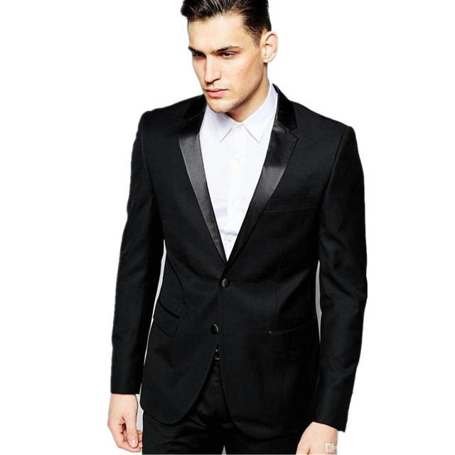 new Men\'s suits, High Quality Two Button Black Groom Tuxedos ...
