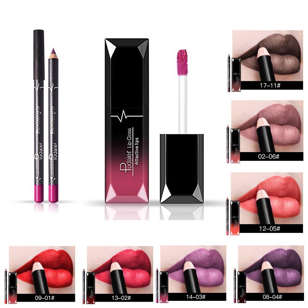 Shimmer Glitter Lip Gloss Hidratante de Longa Duração Cosméticos Nutritivos Batom Líquido Lábios Beleza Maquiagem com Delineador de Lábios