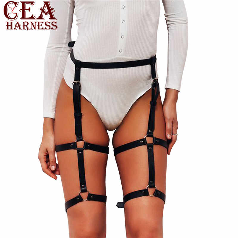 CEA.HARNESS Women's  Leather Harness Belt For Stocking Garters Female Faux Leg Cage Body Bondage Adjustable Accessories Garter