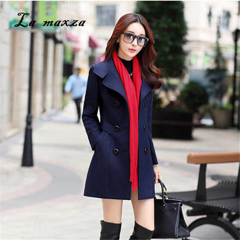 2018 Winter Women Korean Style Slim Coat Casual Fashion Pockets Elegant OL Streetwear Ladies Long Coat