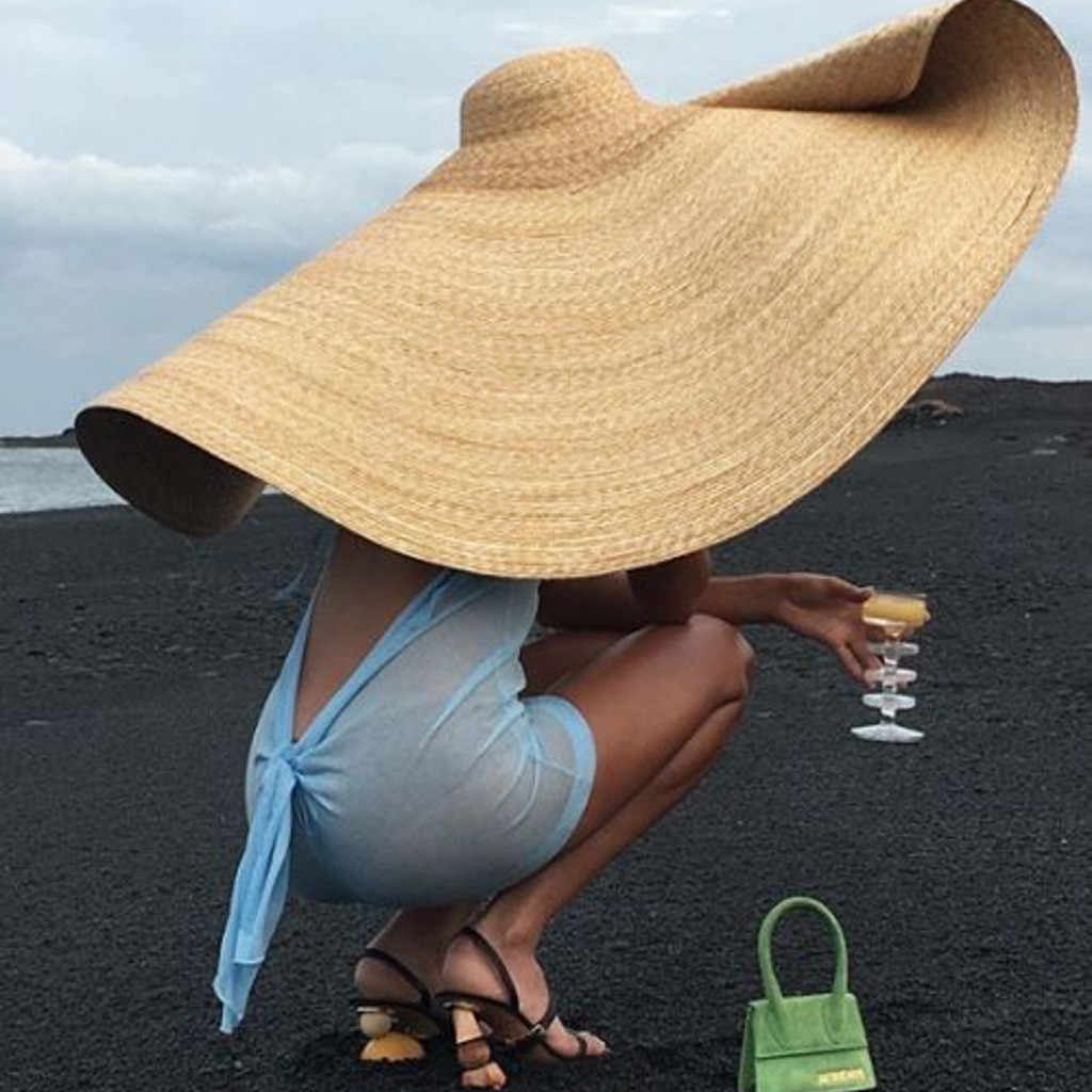 3c3af6c1 ... ins Fashion Large Sun Hat Beach Anti-UV Sun Protection Foldable Straw  Cap Cover Oversized ...