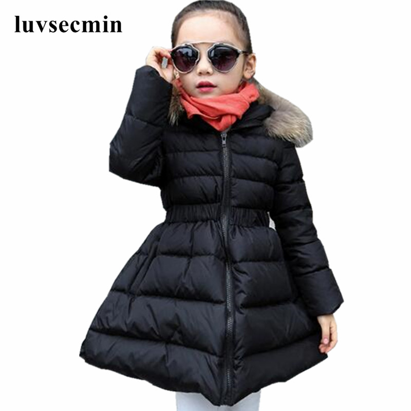 d00bad02a9f5 4-13 Y New 2017 Girls Winter Jackets And Coats Long Slim Children s Warm  Thick