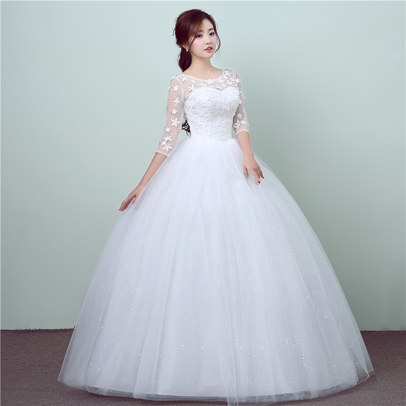 New style lace 3 quarter wedding dress korean style simple for Chinese style wedding dress