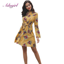 Casual Floral Print Bandage Party Wrap Mini Shirt Dress Women Autumn Elegant Long Sleeve Office Lady Dresses Vintage Vestidos casual floral print bandage party wrap mini shirt dress women autumn elegant long sleeve office lady dresses vintage vestidos