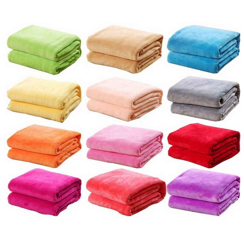 Small Super Warm Solid Warm Micro Plush Fleece Blanket Throw Rug for Sofa Bedding Office Sleep Fleece Blanket Pet Dropship
