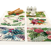 Tropic Green Plant Dining Table Mat Set Coaster Banana Leaf Flower Leaves Design Cloth Placemats Pot Cup Flowers Home Decoration