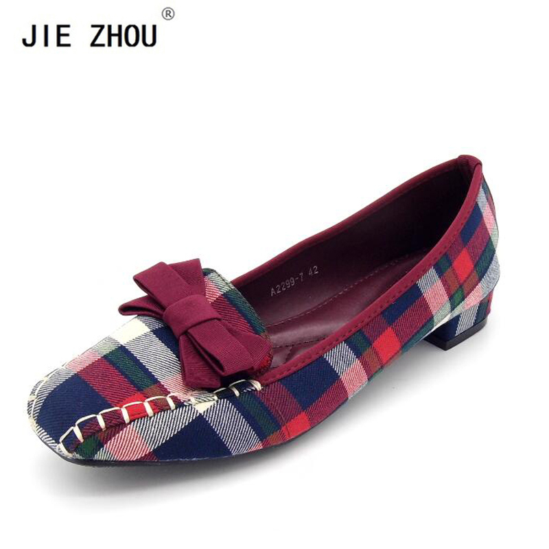 цены Plus Size 35~42 Fashion Women's Shoes 2018 Spring New Women Flats Plaid Cotton Fabric Bow Square Toe Slip-On Flat Casual Shoes