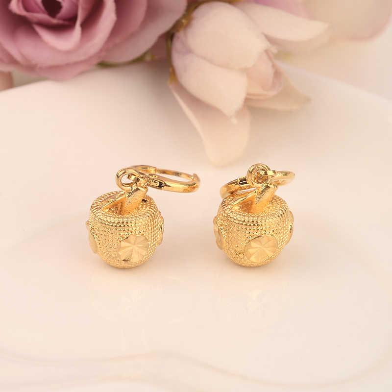 Gold apple drop ohrring Äthiopischen/Nigeria/Kenia/Ghana Gold farbe Dubai afrikanischen Arabischen Nahen Ostens Schmuck Mom geschenke
