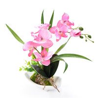1PCS Hot Selling Artificial Butterfly Orchid Home Dcoration Simulation Flowers DIY Bonsai With Ceramic Flower Pot