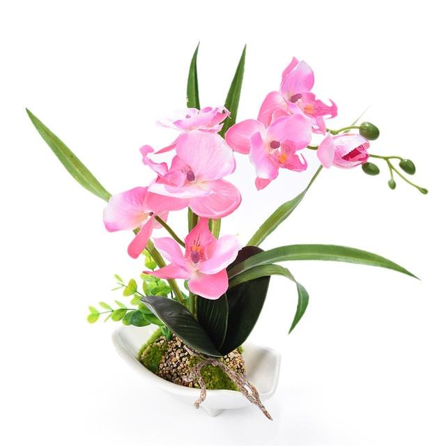 Лидер продаж искусственная Орхидея-бабочка дома dcoration моделирования  цветы DIY Карликовые деревья e72f0f970f2