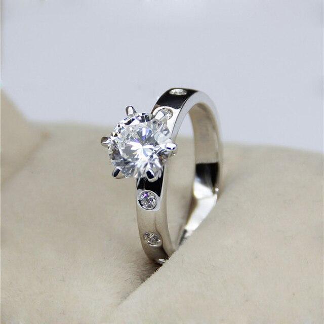 Genuino 14 K 585 Oro Blanco 2.18 Carat ct Lab Grown Anillo Diamante Moissanite Para Las Mujeres de Compromiso y Boda