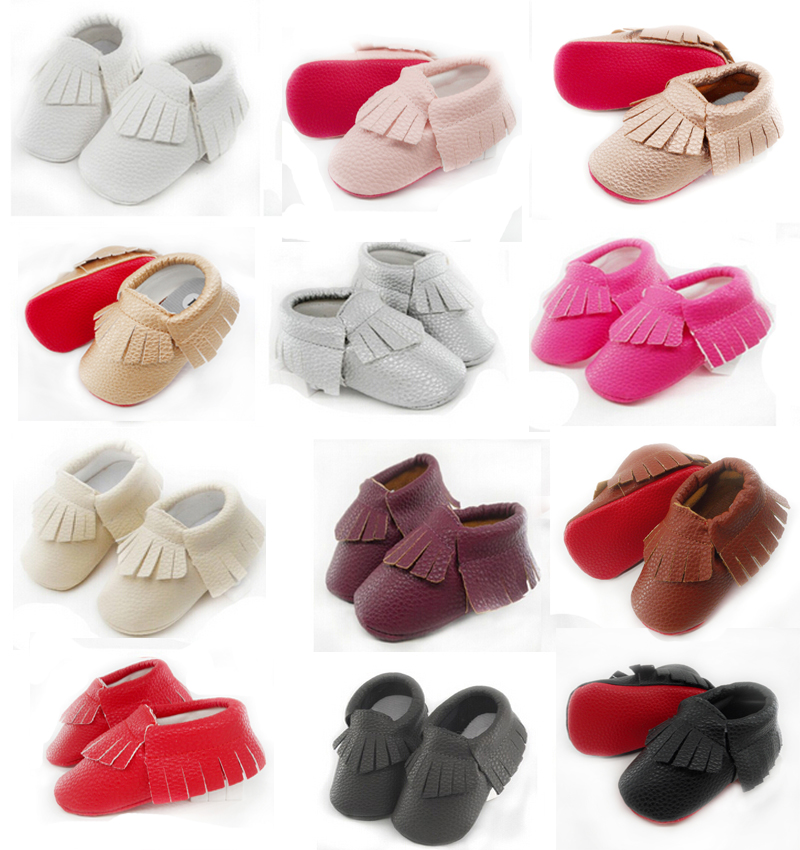 Baby Moccasins red Bottom soft sole Newborn Baby Shoes fringe tassel PU leather infant Prewalkers Boots 0-2 Y